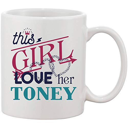 Gift For Wife on Birthday or Valentines Day - This Girl Love Her Husband Toney - 11 oz Romantic Marriage Coffee Mug - Funny Gift Idea From Husband on Wedding Day or Any Special Occasion ()