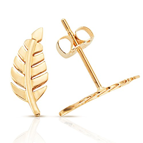 Solid Gold Leaf Stud Earrings in 14K yellow Gold (Gold Leaf Solid)