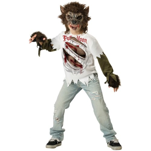 Werewolf Kids Costumes (InCharacter Costumes, LLC Boys Werewolf Mask and Shirt Set, Multi Color, 6)