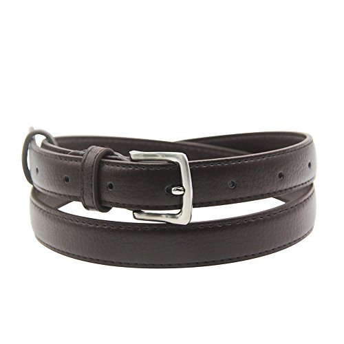 Womens Belt Skinny Leather Solid Color Pin Buckle Simple Waist for Girls Ladies ()