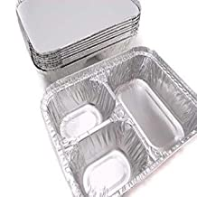 25 TV Dinner Aluminum Foil Food Tray with Lids 3 - Compartment