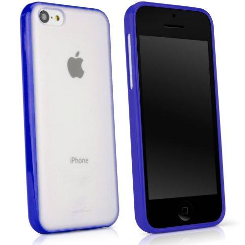BoxWave Étui pour Apple iPhone 5C Imprimé élégant cas–DUAL TONE Coque en TPU pour protection durable antidérapant, avec arrière mat transparent avec bordure solide–Apple iPhone 5C et coques (Ble