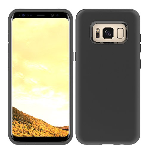 Galaxy S8 Plus Slim Case, HLCT Slim Fit Thin Interior TPU Bumper & Hard PC Back, Shock-Absorption Hybrid Dual-Layer Cover (Black)