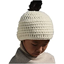 Tinacrochetstudio Messy Bun Hats Ponytail Beanie Chunky Crochet Homemade Chirstmas Gifts (Teen and Adult, Ivory)