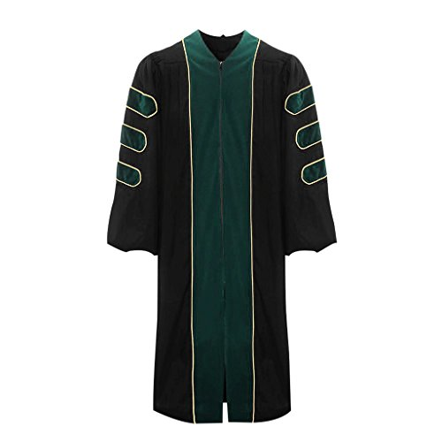 lescapsgown Deluxe Doctoral Graduation Gown-Green Trim Gold Piping(Green Size 51) by lescapsgown