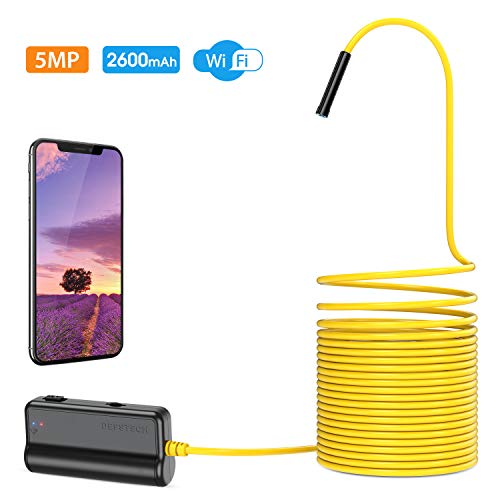 Wireless Endoscope,DEPSTECH Upgrade 5.0MP HD WiFi Borescope, 16 inch Focal Distance, Semi-Rigid Snake Inspection Camera with 2600 mAh Battery for iOS & Android Smart Phone & Tablets-16.5Ft