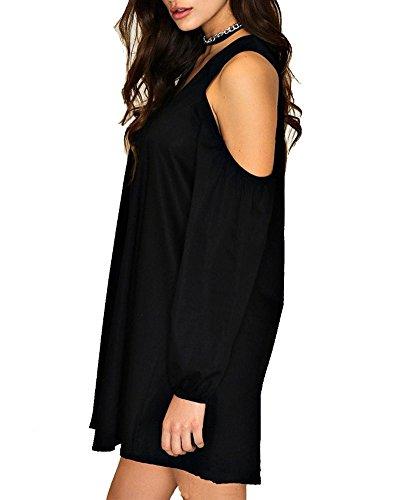 Shirt Blouse Longue Tunique Haut Robe Manches Mini Mousseline Chemise Tops T Noir Femme PengGeng Bq6pwnzAw