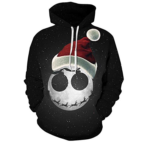 Carprinass Women's Santa Skeleton Printed Hoodie Sweatshirts Hooded Pullover Black L