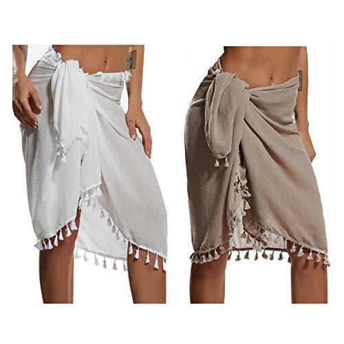 Eicolorte Beach Sarong Pareo Womens Linen Cotton Swimwear Cover Ups Short Skirt with Tassels (Khkai+White-Short) ()