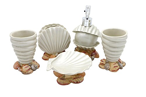 (JynXos Resin 5 Pieces Bathroom Accessory Set - Conch And Seashell Design Ensemble Bathroom Vanities Home)