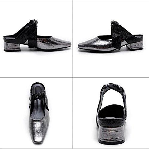 Qingchunhuangtang @ Mine Damer Sko Forår Og Sommer Sandaler Med Sandaler Med Baotou Råolie Pistol Farve NsbTwA