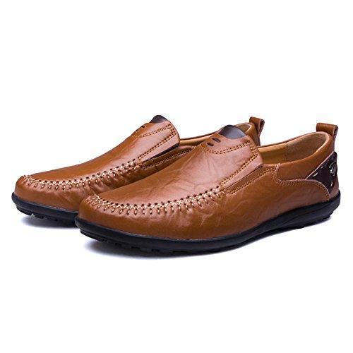 Hombres Oxford Cuero Zapatos Ponerse Casual Mocasines Hecho a mano Cómodo Moda Pisos Negro marrón Conducción Negocio Dark brown