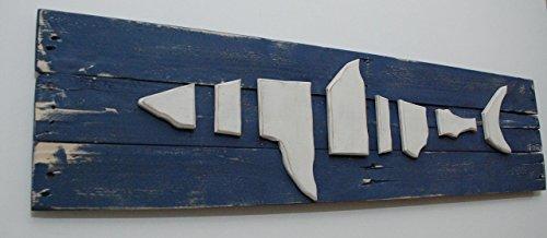 Nautical Wood on Wood Shark in the ocean Wood Wall Art by Loveofbeach