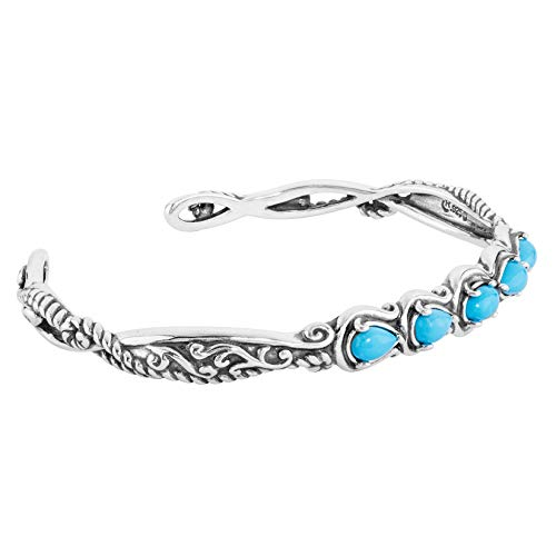 (Carolyn Pollack Sterling Silver Blue Turquoise Gemstone Five Stone Cuff Bracelet Size Large)