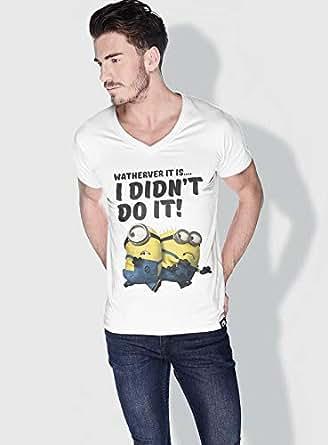 Creo Running Minions Vshape Neck T-Shirt For Men - White, S