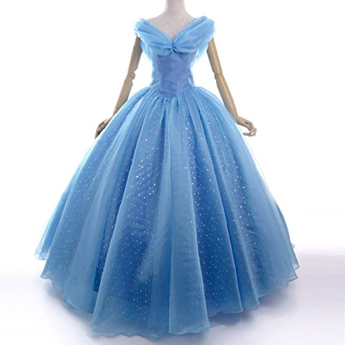 Wraith of East Movie 2015 Cinderella Adult Costume Women Cosplay Party Blue Ball Gowns Dress (Small, Blue)