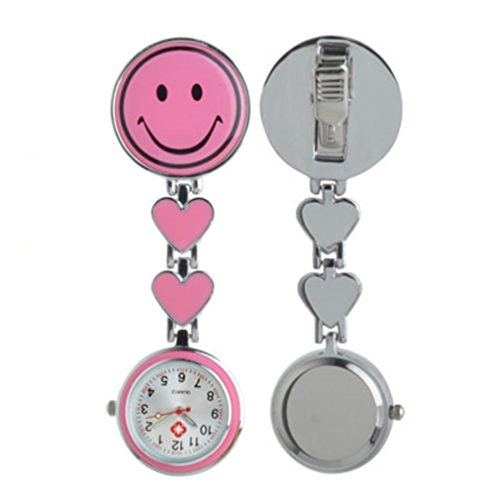 PromiseU 1pcs Smile Face Heart Pendant Pocket Quartz Nurse Fob Watch
