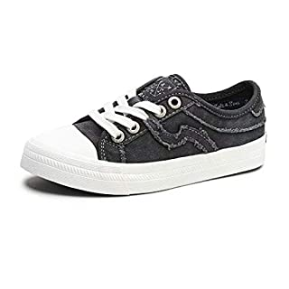 SALT&SEAS Women Adults Canvas Fashion Sneakers Low Top Lace Up Lightweight Flat Breathable Casual Shoes Black, 8