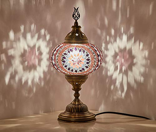 Demmex 2019 Turkish Moroccan Mosaic Table Bedside Night Tiffany Bedside Lamp for US Use, - Purple Table Mosaic Lamp