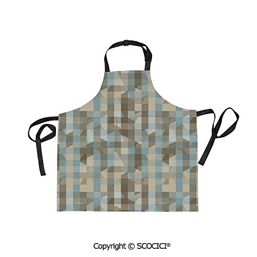 SCOCICI Fabric Durable Unisex Apron with 2 Pockets-Extra Long Ties, Modern Fractal Look with Vertical Line Pattern Soft Colors Illustration,Home Baking or Kitchen Cooking]()