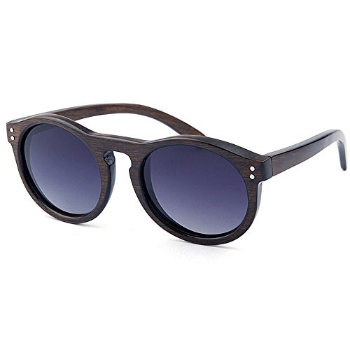 mano la a sol Retro de calidad hechas de de los alta protección de lente UV vacaciones decoración madera conducción de sol gafas de pesca de Marrón aire polarizada hombres Remache redondas al playa gafas de BErHqEg