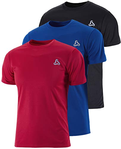 SILKWORLD Men's 3 Pack Mesh Quick-Dry Short Sleeve Workout Shirt,Black, Red, Blue, X-Large