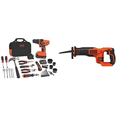 BLACK+DECKER LDX120PK 20-Volt MAX Lithium-Ion Drill and Project Kit w/ BDCR20B 20V Reciprocating Saw