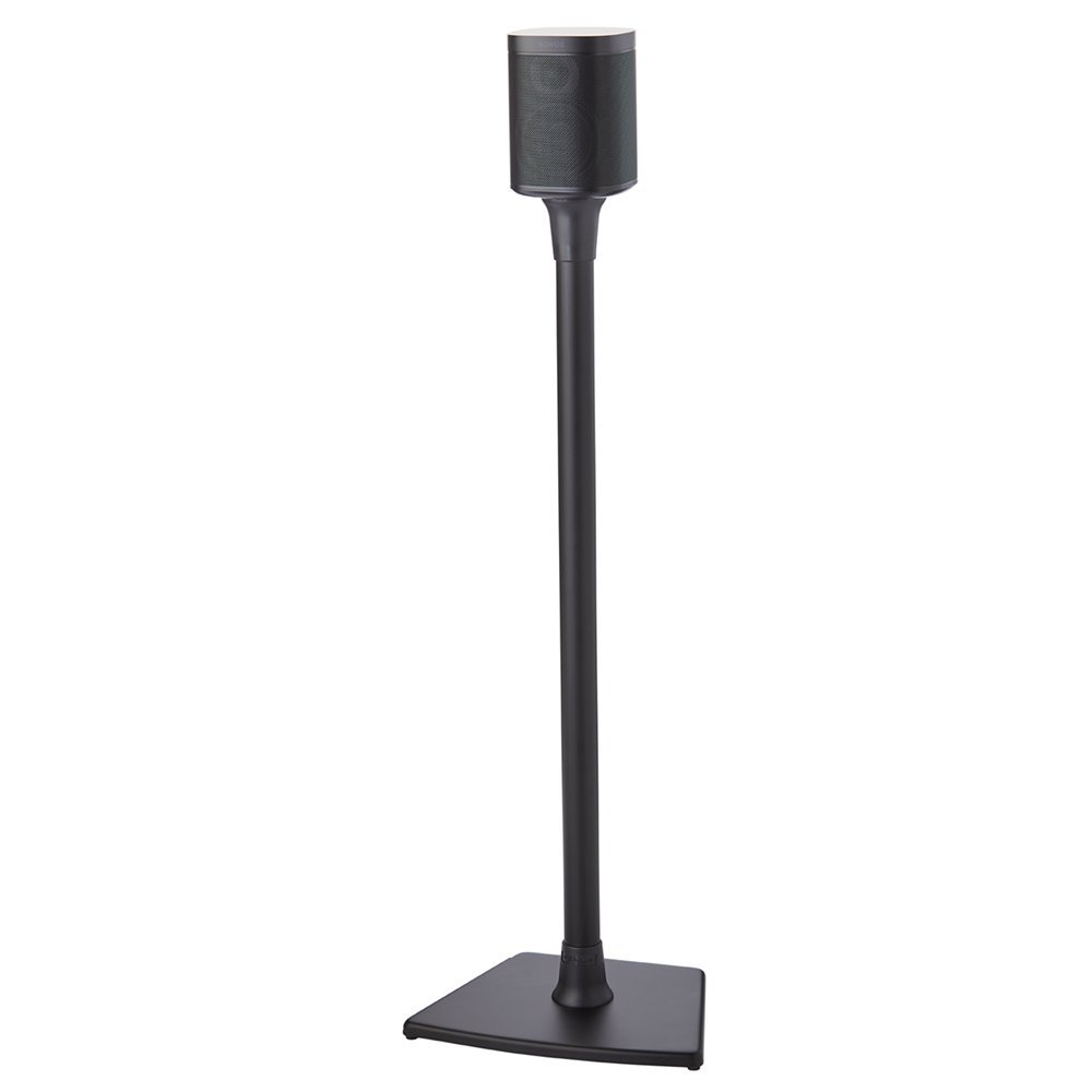 Sanus Wireless Sonos Speaker Stand for Sonos One, One SL, Play:1, Play:3 - Audio-Enhancing Design with Built-in Cable Management - Single Stand (Black) - WSS21-B1 by Sanus