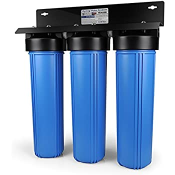 iSpring WGB32BM 3-Stage Whole House Water Filtration System w/ 20-Inch Big Blue Sediment, Carbon Block, and Iron & Manganese Reducing Filter
