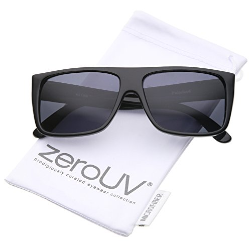 zeroUV - Classic Old School Easy E Flat Top Polarized Lens Sunglasses 57mm (Black / Smoke - Wide Glasses Temple