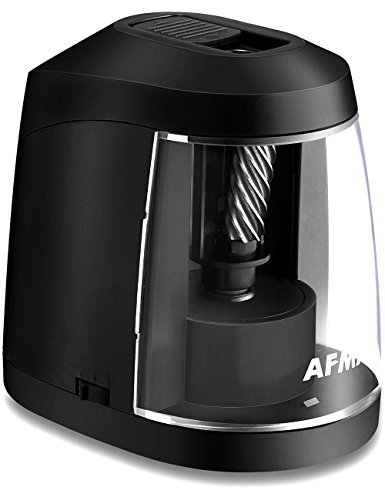 Electric Pencil Sharpener for Kids& Adults, Strong Helical Blade sharpen 4000 times, AC or Battery Operated Sharpeners for No.2 and Colored Pencils, Small and Portable at Home Office Classroom-Black