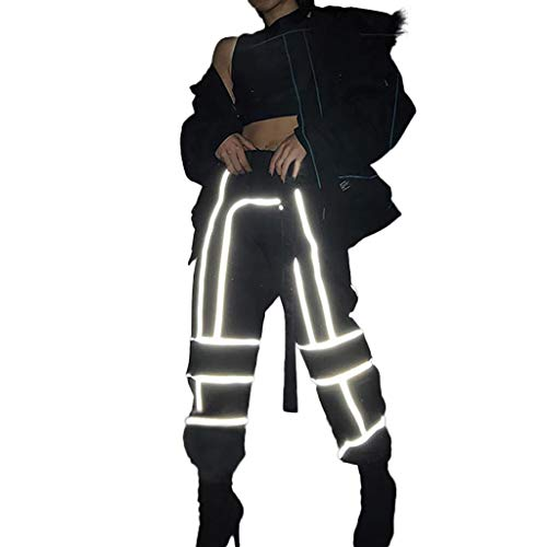 LISTHA Reflective Cargo Pants Women Overalls Street Shot High Waist Trousers ()