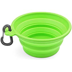 Flexzion Dog Collapsible Bowl (Green) Silicone Pop Up Travel Feeder Pet Cat Puppy Animal Food Water Container Dish Portable with a Free Carabiner Clip Home Outdoor Use