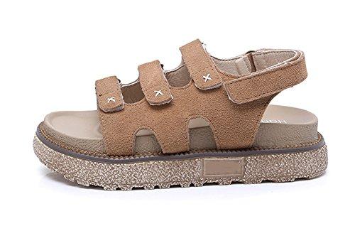 khaki sandales romaine plates d'été 34 cuir dames à épaisse semelle sandales de d'été la Femmes chaussures mode tendances 42 en xie étudiants vnPwzx1CqE