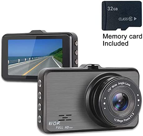Dash Cam 1080P Car DVR Dashboard Camera Full HD with 3 LCD Screen 170 Wide Angle, WDR, G-Sensor, Loop Recording and Motion Detection