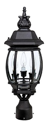 Black French Country 3 Light Outdoor Lantern Post Light ()