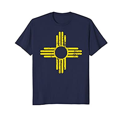 New Mexico Flag Shirt Distressed Yellow Zia Sun Alone Shirt
