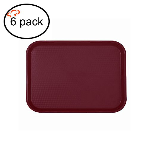 Tiger Chef Fast Food Tray 12 x 16, Set of 6 Burgundy, Cafe Standard Tray, BPA-Free, NSF Certified