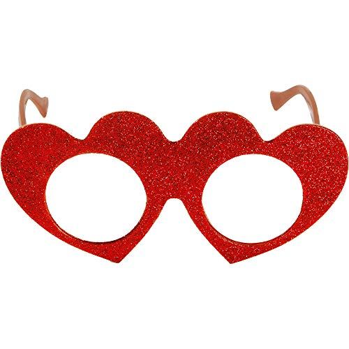 Amscan Valentine Glitter Red Heart Eyeglasses | Party Accessory -