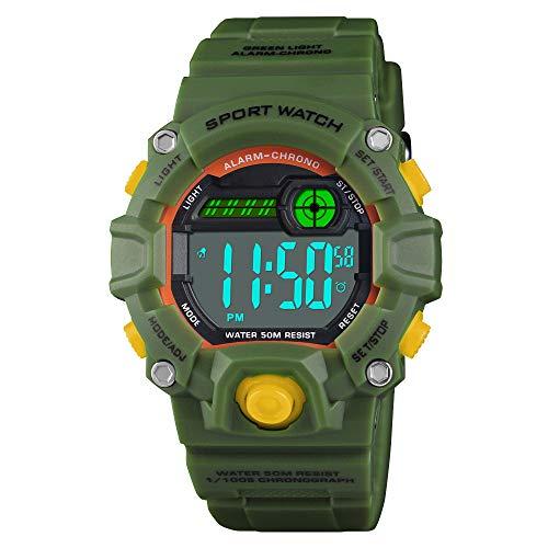 Venhoo Kids Digital Watches Outdoor Sport Waterproof Electronic LED Alarm Stopwatch Wrist Watch for Kids Boys Girls-Army Green