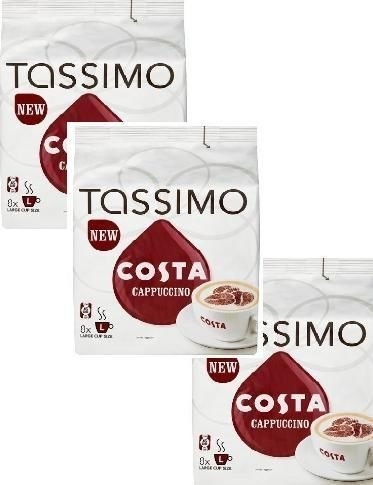 Tassimo Costa Cappuccino X3 Packs Total 48 T Discs - T-disc Cappuccino