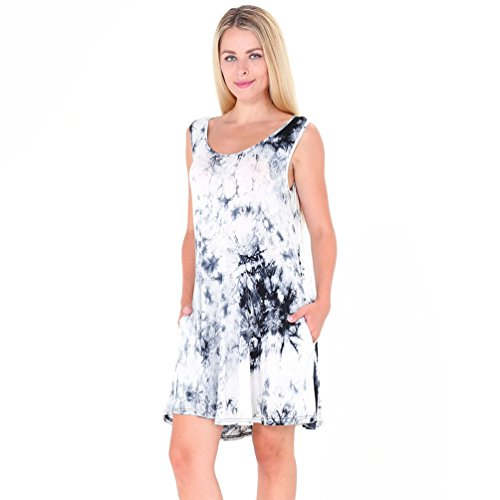 NiSeng Mujeres Moda Camiseta Vestido Casual Verano Sin Mangas Mini Vestido T-Shirt Vestido Blanco