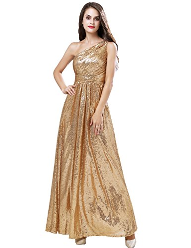 One Shoulder Prom Dress 2011 - Belle House Women's One Shoulder Sequins Prom Dresses 2018 Long Bridesmaid Gold Mermaid Evening Gown Vintage Greek