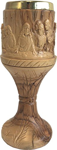 Top Quality Hand carved Last Supper olive wood wine Goblet or Cup Extra Large - 10 Inches high by Holy Land Market
