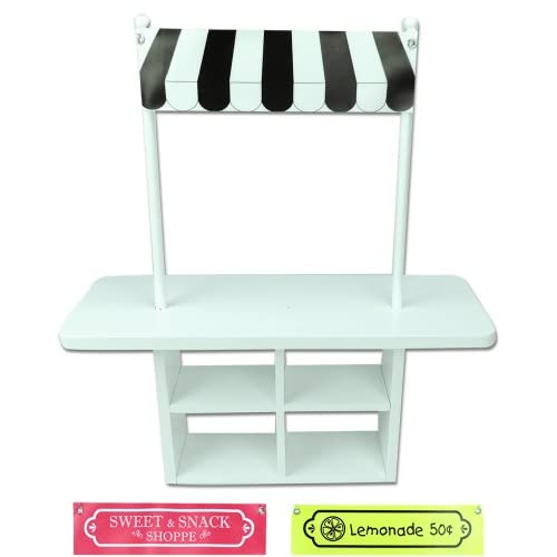 18 Inch Doll Concession Table Painted White, 2 White Chairs U0026 3  Interchangeable Signs/2 Removable Poles, ...