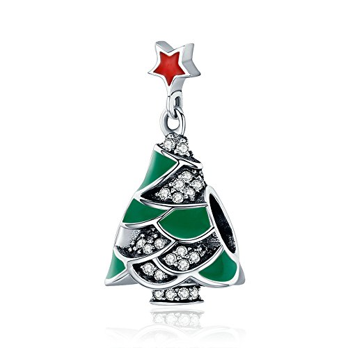 Everbling Christmas Tree Green Enamel Clear CZ 925 Sterling Silver Bead Fits European Charm Bracelet Green Christmas Italian Charm