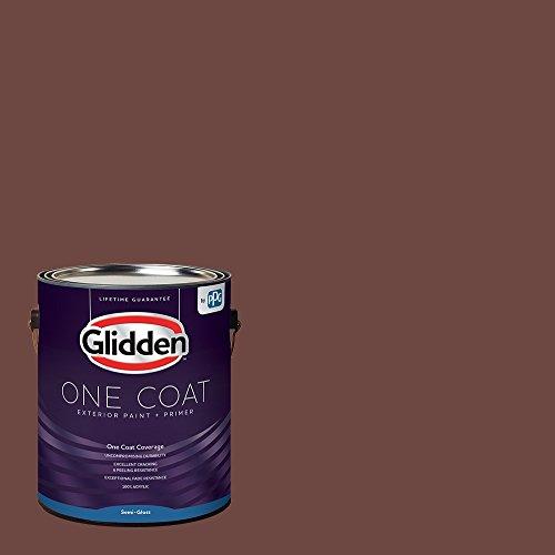Red Exterior Paint - Warm Mahogany, 1 Gallon Semi-Gloss Glidden One Coat Paint + Primer - Mahogany Semi