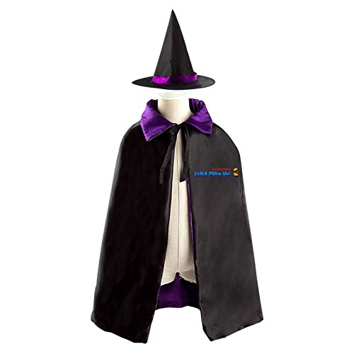 Mario Bros Goomba Costume (Super Mario Bros.3 Logo Halloween Wizard Witch Kids Cape With Hat Party Cloak)