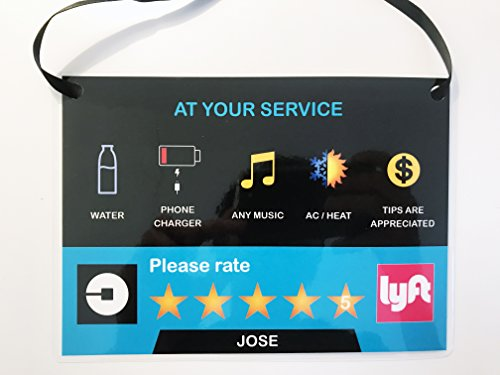 Set Of 2  Uber Lyft 5 Star Ratings Sign   Custom Messages And Made With Your Name V2