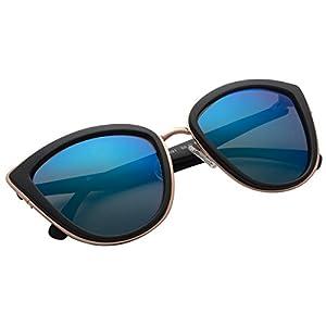 VIVIENFANG My Girl Women's Blue Mirror Lens Oversized Shades Polarized Cat eye Sunglasses P1891a